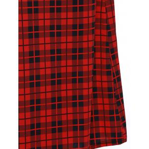 Retro Women's Plaid Belted Maxi Dress -