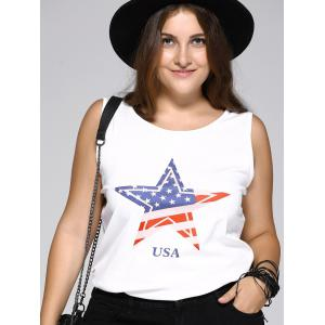 Oversized Brief Star and Letter Print Tank Top -