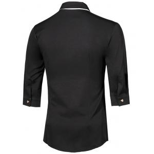 Turn-Down Collar Metal Detail Button-Down Three-Quarter Sleeves Shirt For Men -