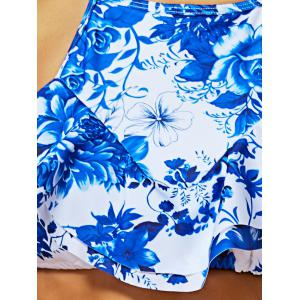 Halter High Neck Blue and White Porcelain Bikini Bathing Suit - COLORMIX L