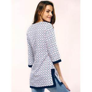 Chic Geometric Pattern Side Split Long T-Shirt For Women - BLUE L