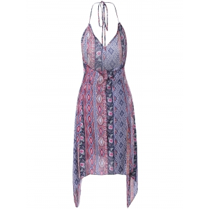 Backless Pringting Bohemian Halter Dress -