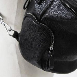 Stylish Solid Color and Zip Design Satchel For Women - BLACK