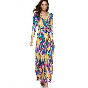Trendy Women's Plunging Neck Colored Printed Maxi Dress -