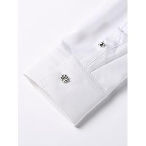 Floral Embroidery Turn-Down Collar Long Sleeve Button-Down Shirt For Men -