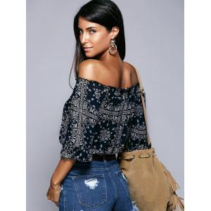 Off The Shoulder Ethic Print Cropped Blouse -