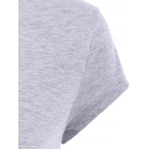 Stylish Round Neck Short Sleeve Gray T-Shirt For Women - GRAY M