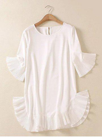 Latest Plus Size Flare Sleeve Teen Dress - 2XL WHITE Mobile