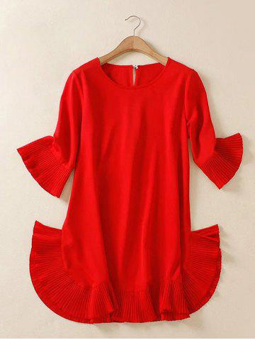 Buy Plus Size Flare Sleeve Teen Dress - XL RED Mobile