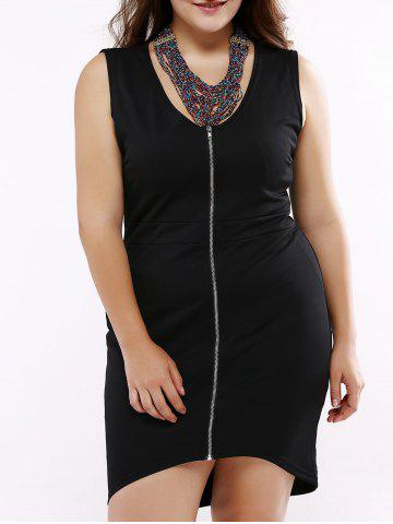 Discount Sleeveless Front Zipped Cocktail Dress BLACK 3XL