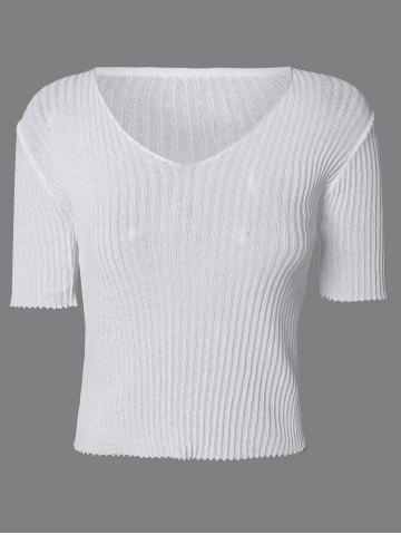Discount Chic V-Neck Textured Solid Color Women's Knitwear