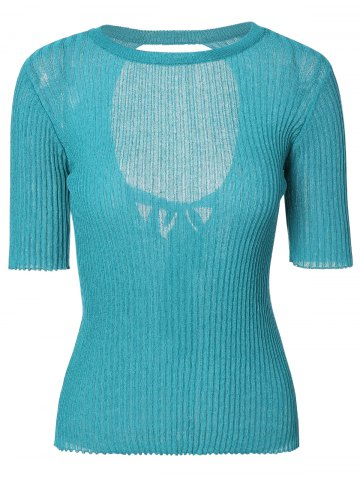 Affordable Chic Round Neck Tie-Back Solid Color Backless Women's Knitwear
