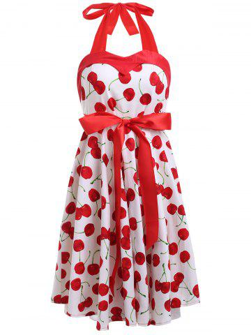 Hot Vintage Halterneck Cherry A-Line Dress For Women WHITE M