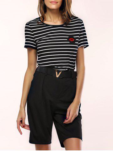 Shop Stylish Striped Mesh Spliced T-Shirt and Belted Shorts Women's Twinset