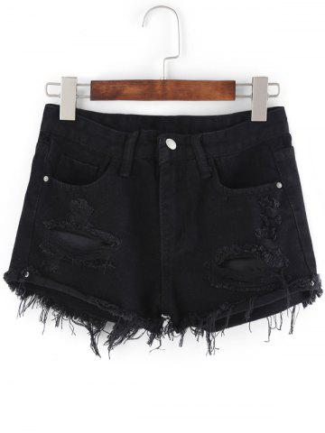 Latest Pockets Ribbed Distressed Cutout Denim Shorts