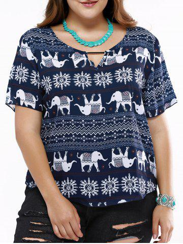 Outfits Cute Hollow Out Elephant Print T-Shirt For Women