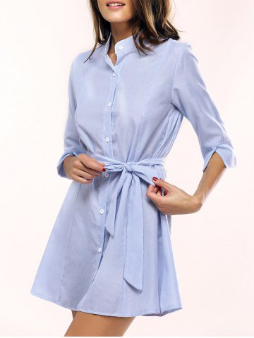Latest Casual 3/4 Sleeve Striped Tied Dress For Women