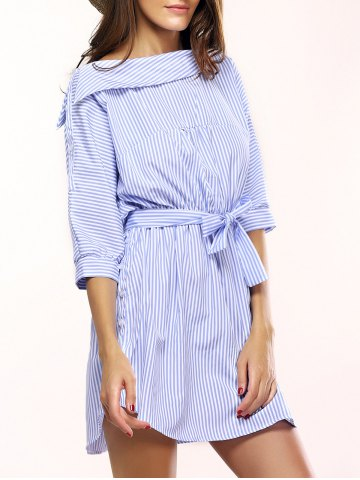 Shops Simple Skew Neck 3/4 Sleeve Striped Dress For Women