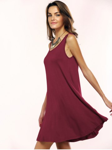 Discount Tank A Line Casual Everyday Dress - L WINE RED Mobile