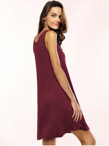 Shop Tank A Line Casual Everyday Dress - L WINE RED Mobile