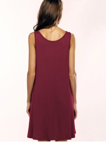 Hot Tank A Line Casual Everyday Dress - L WINE RED Mobile