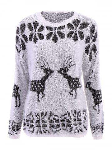 Unique Stylish Scoop Neck Deer Pattern Long Sleeve Women's Christmas Sweater WHITE ONE SIZE(FIT SIZE XS TO M)