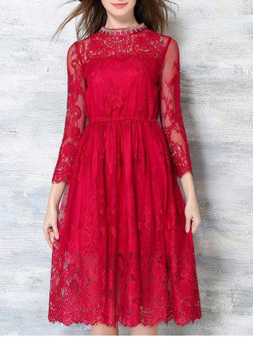 Outfit Beaded Laced Splicing Round Neck Crochet Dress