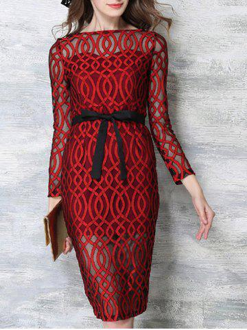 Shops Voile Splicing 3/4 Sleeve See-Through Dress