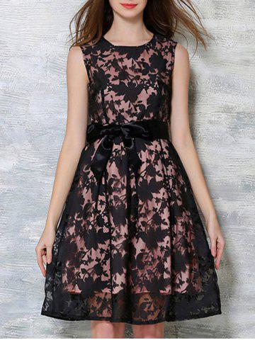 Shop Bowknot Decorated Sleeveless Dress BLACK AND PINK XL