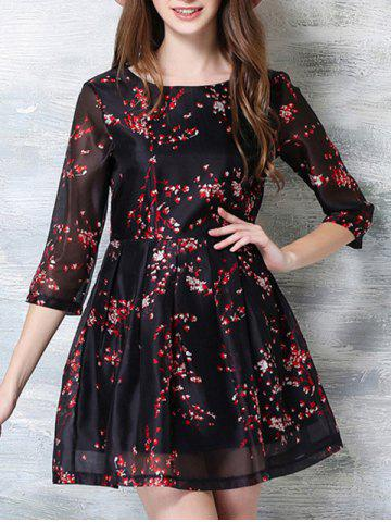 Online 3/4 Sleeve Floral Print Party Dress