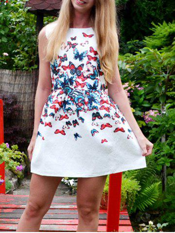 Cheap Chic Round Neck Butterfly Print Sleeveless Dress For Women