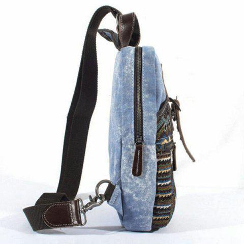 Latest Leisure Patchwork and Buckle Design Backpack For Men - DENIM BLUE  Mobile