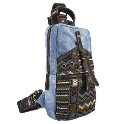 Chic Leisure Patchwork and Buckle Design Backpack For Men - DENIM BLUE  Mobile