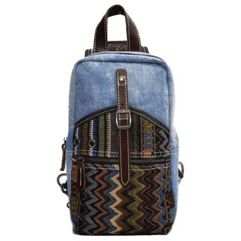 Hot Leisure Patchwork and Buckle Design Backpack For Men - DENIM BLUE  Mobile