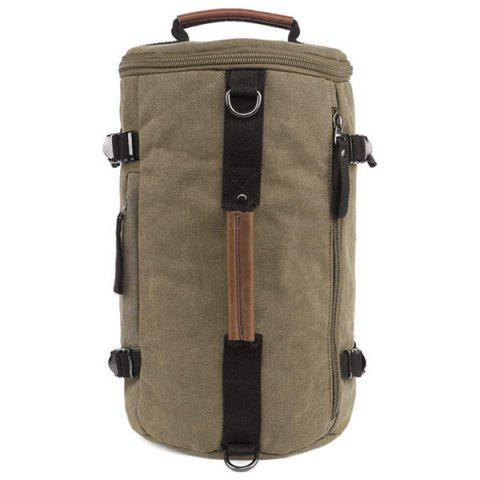 Leisure Zippers and Canvas Design Backpack For Men - KHAKI