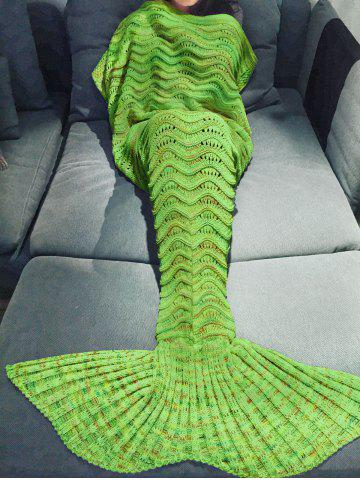 Comfortable Multicolor Knitted Throw Mermaid Tail Design Blanket For Adult - Apple Green - W91 Inch * L71 Inch
