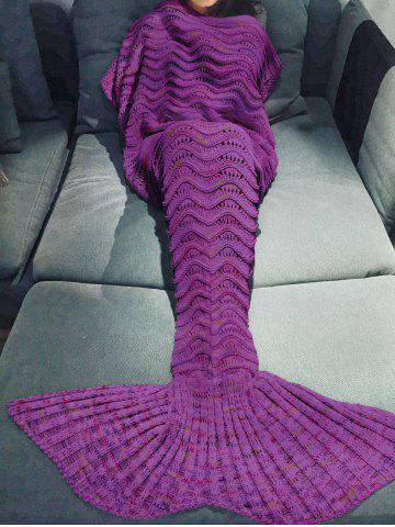 Comfortable Multicolor Knitted Throw Mermaid Tail Design Blanket For Adult - Purple