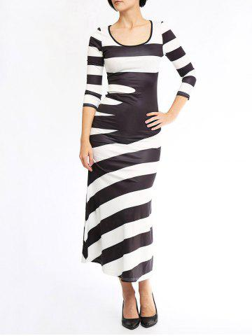 Latest Stylish Scoop Neck 3/4 Sleeve Striped Maxi Dress