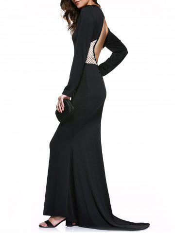 Store Chic Women's Black Mesh Spliced Backless Maxi Dress