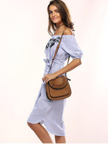 New Flowers Striped Off The Shoulder Shirt Dress - ONE SIZE LIGHT BLUE Mobile
