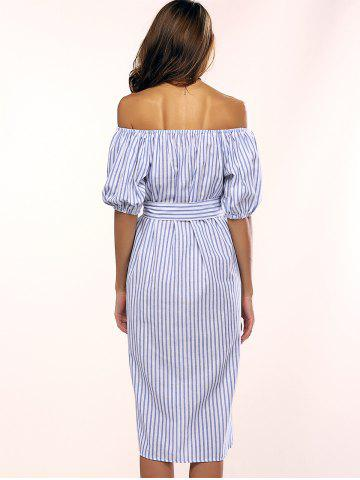 Trendy Flowers Striped Off The Shoulder Shirt Dress - ONE SIZE LIGHT BLUE Mobile
