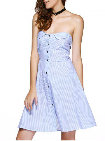 Affordable Elegant Strapless Striped High Waist Homecoming Dress
