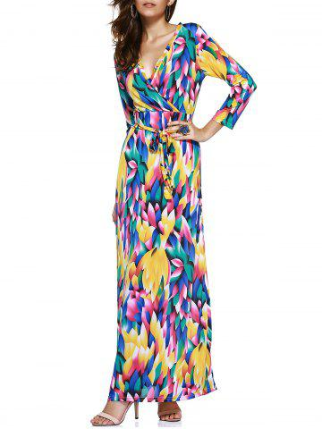 Store Trendy Women's Plunging Neck Colored Printed Maxi Dress