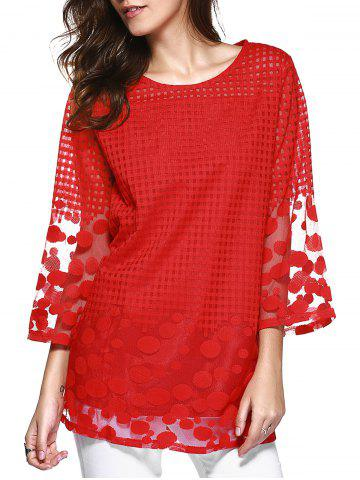 Sale Attractive Plaid Spliced Polka Dot Chiffon Blouse RED 5XL