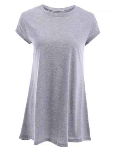 Buy Stylish Round Neck Short Sleeve Gray T-Shirt For Women GRAY M