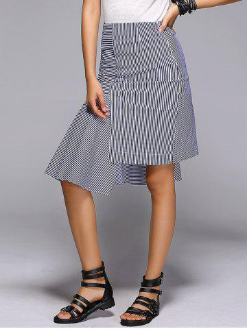 New Uneven Hem Striped Midi Skirt
