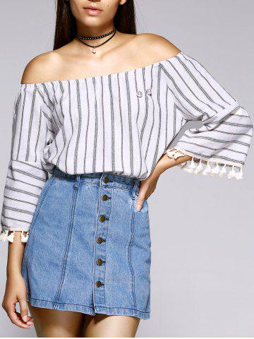 Chic Beaded Tassel Embellished Striped Blouse