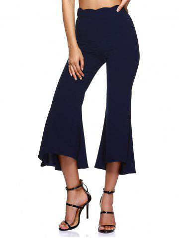 Outfit Asymmetrical Wave Waistband Side Zipper Bell-Bottoms Pants