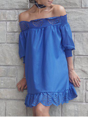 Latest Off The Shoulder Laciness Hollow Out Mini Dress
