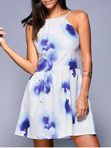 Outfit Wash Painting Backless High-Waist Dress